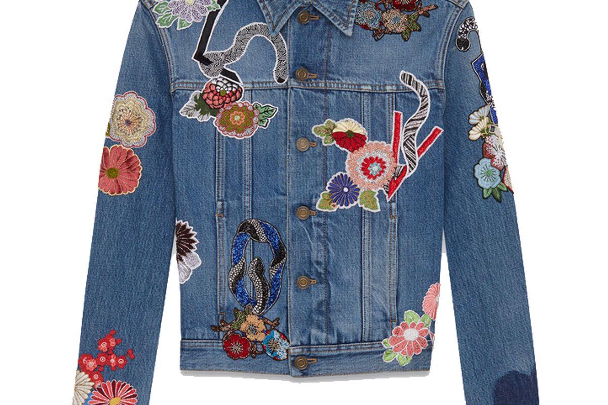 """Love"" Embroidery Jean Jacket in Original Used Vintage '80s Blue Denim"
