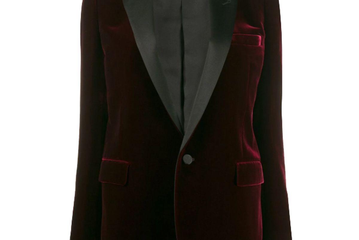 saint laurent velvet effect single breasted blazer