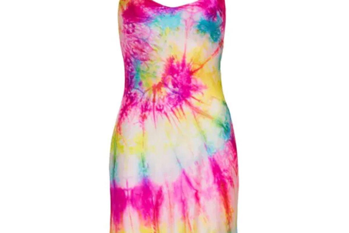 dannijo neon tie dye silk mini dress