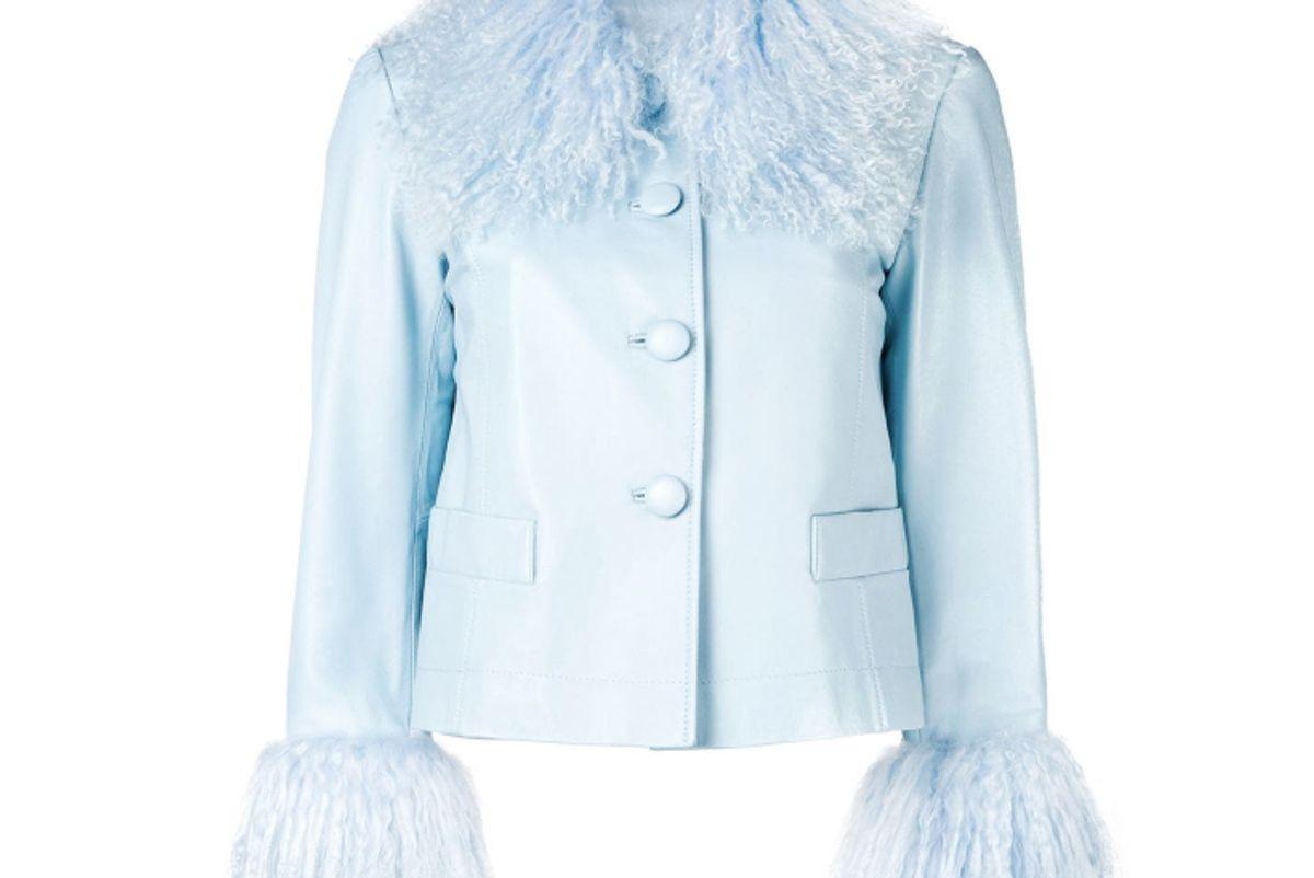 saks potts lamb fur trim jacket