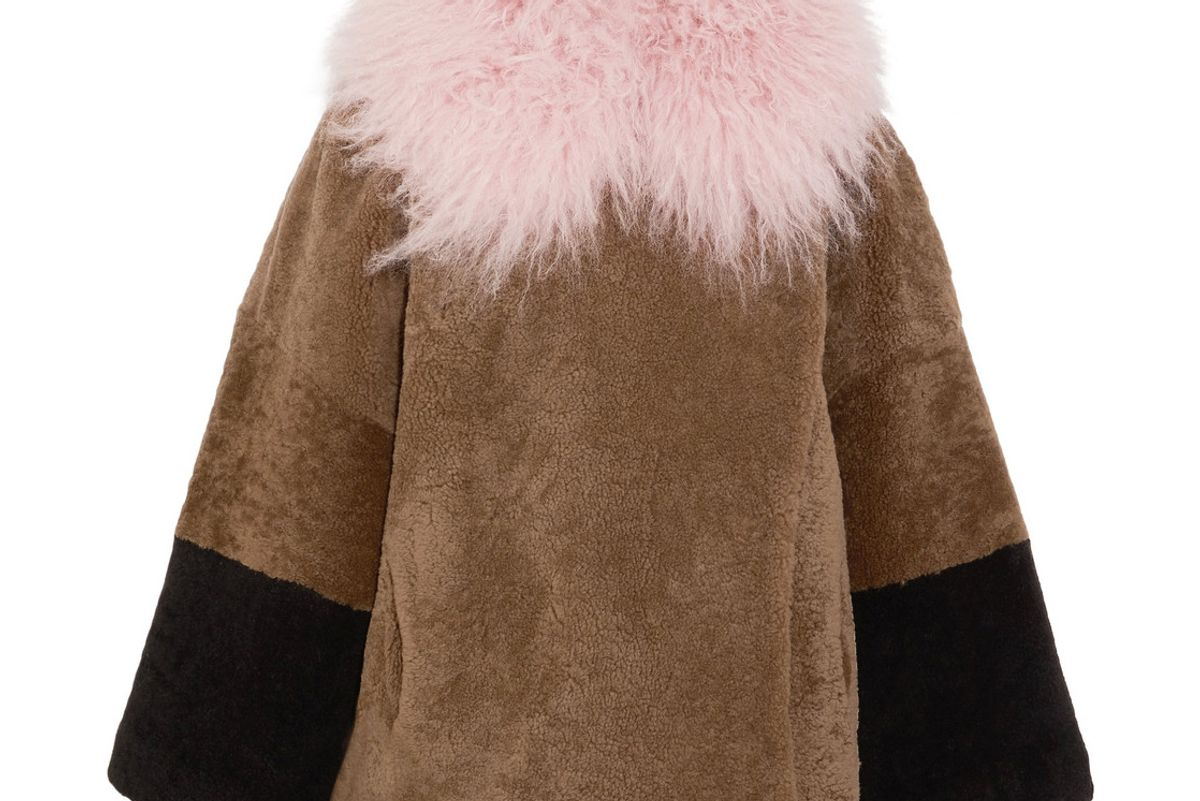 Suz Color-Block Shearling Coat