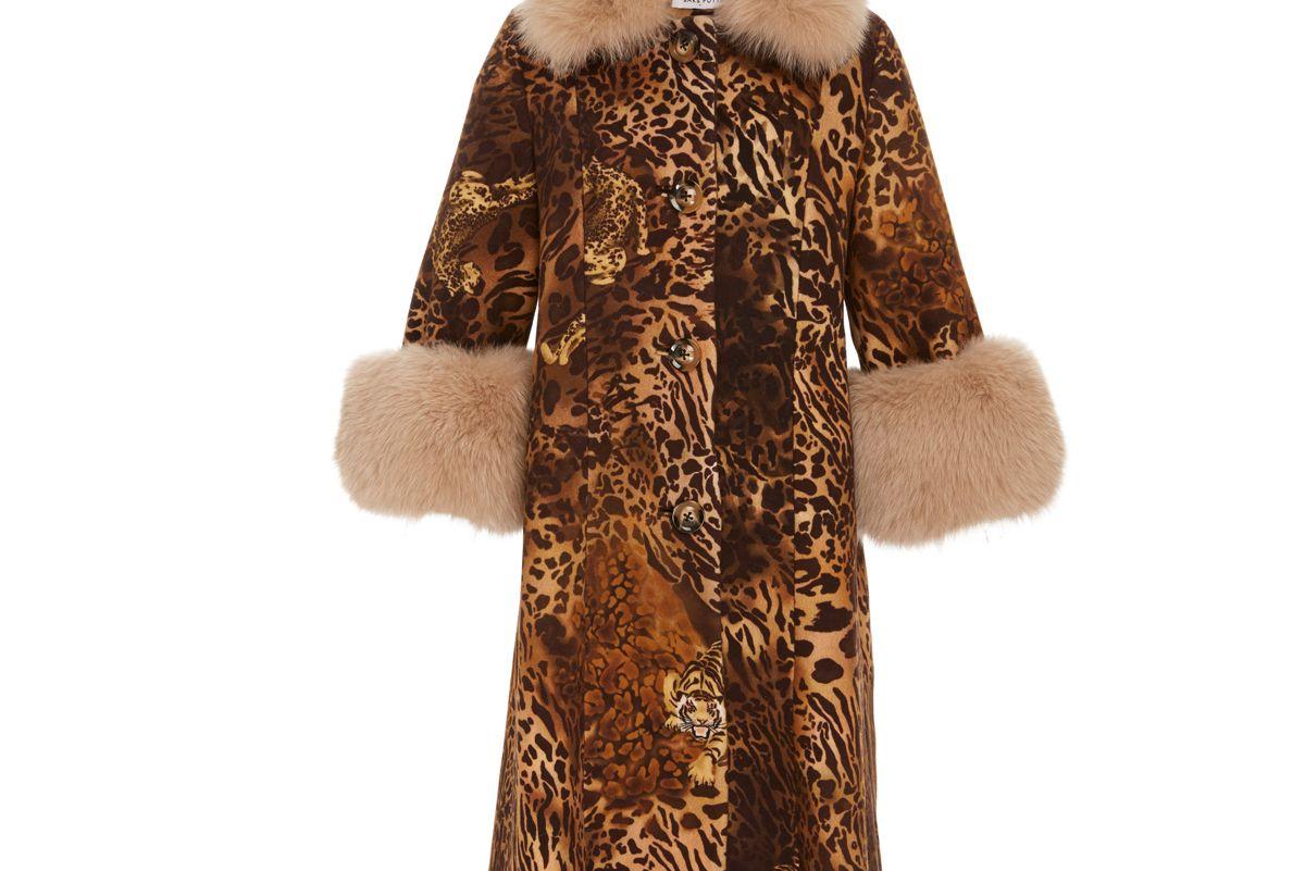 saks potts yvonne animal print fur trimmed wool coat