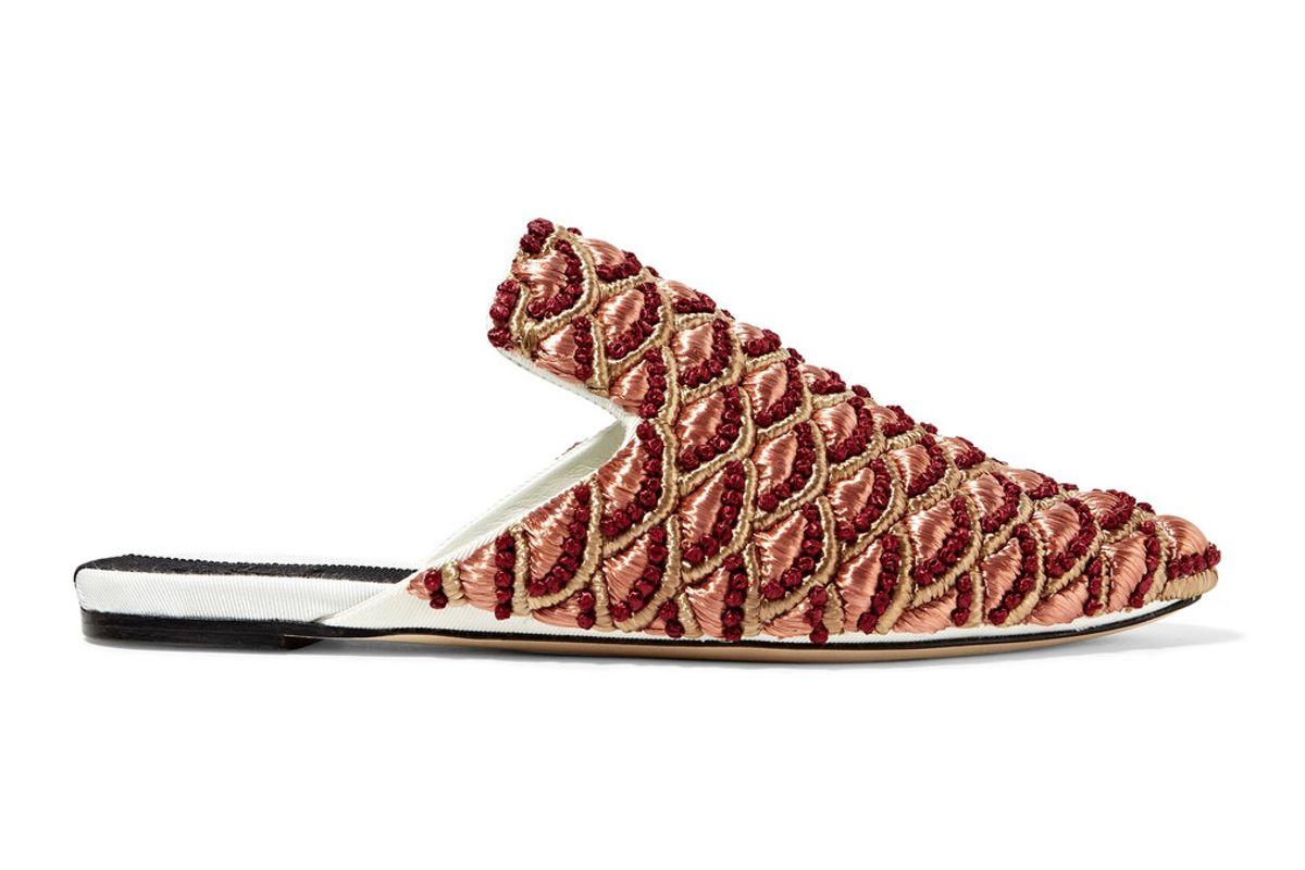 Bacio Embroidered Twill Slippers