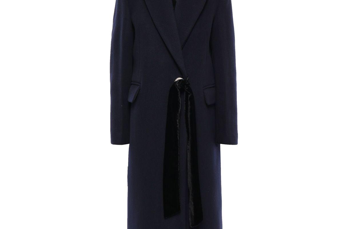 sandro velvet trimmed wool blend felt coat