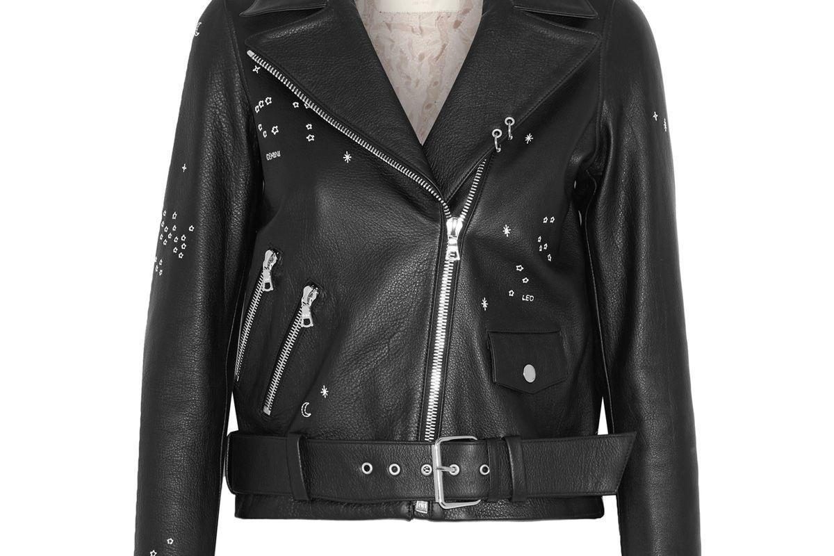 Astro Delancey Embroidered Textured-Leather Biker Jacket