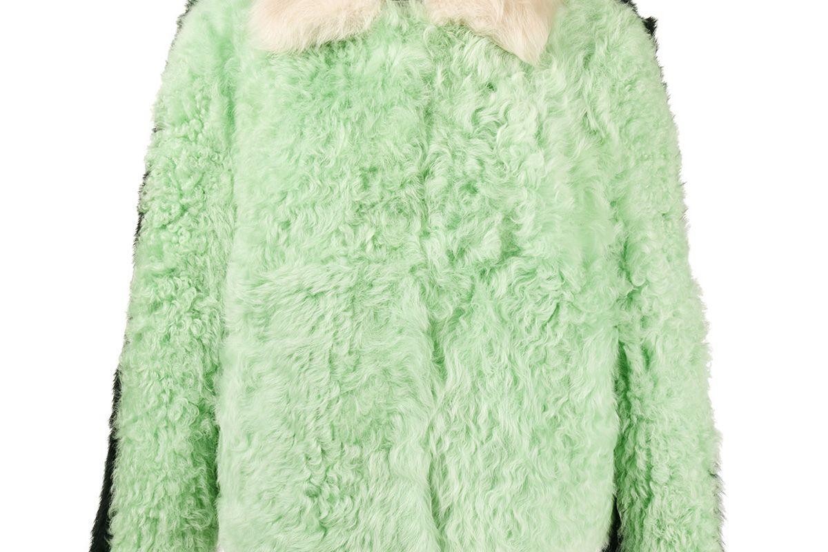 Cashew Colour Block Shearling Boxy Jacket