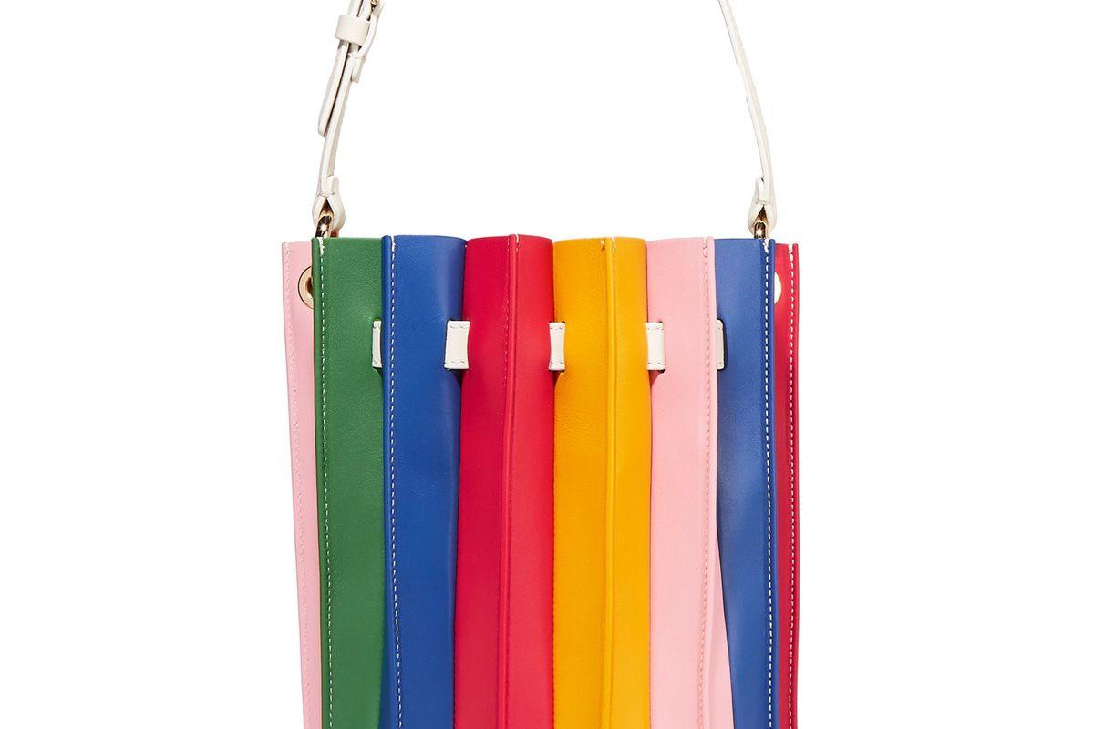 Plisse Leather Bucket Bag