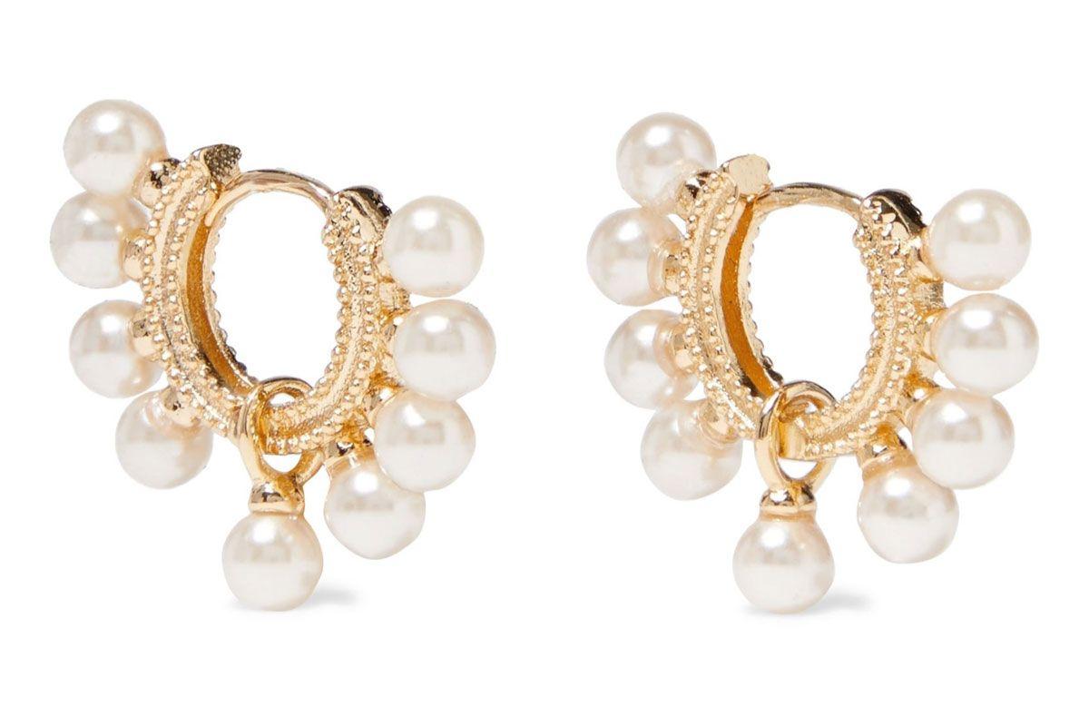 sashi lola 18 karat gold plated faux pearl hoop earrings