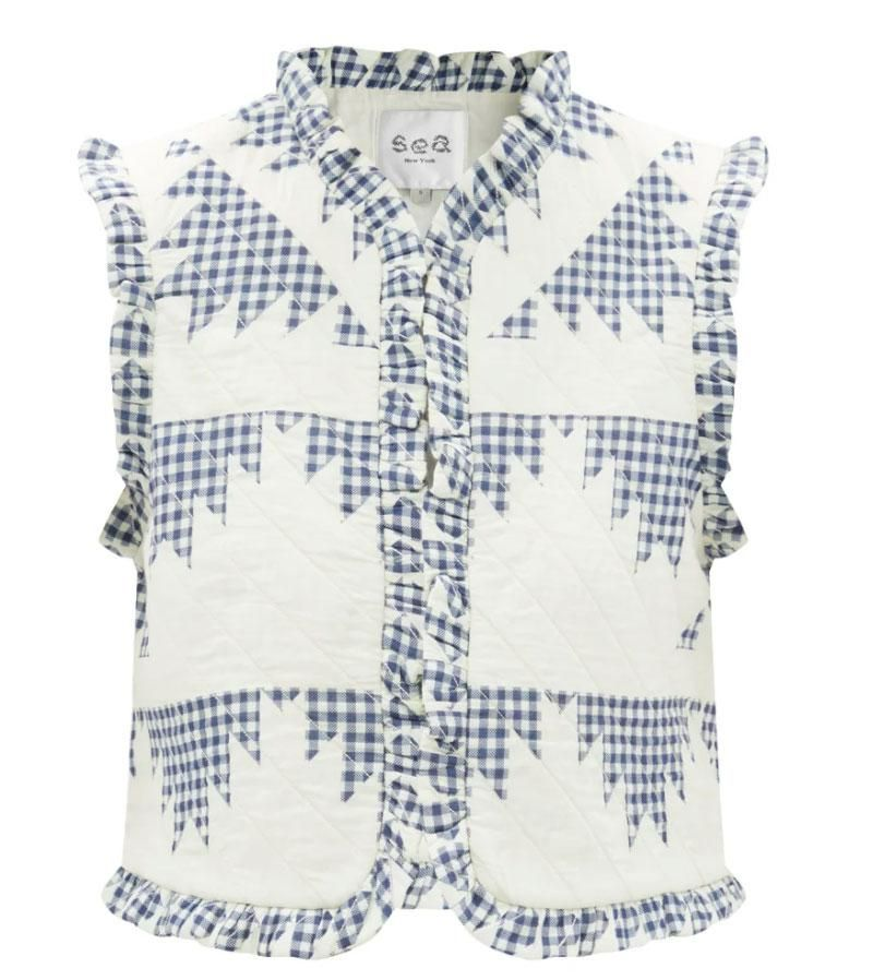 sea gloucester patchwork gingham quilted cotton gilet