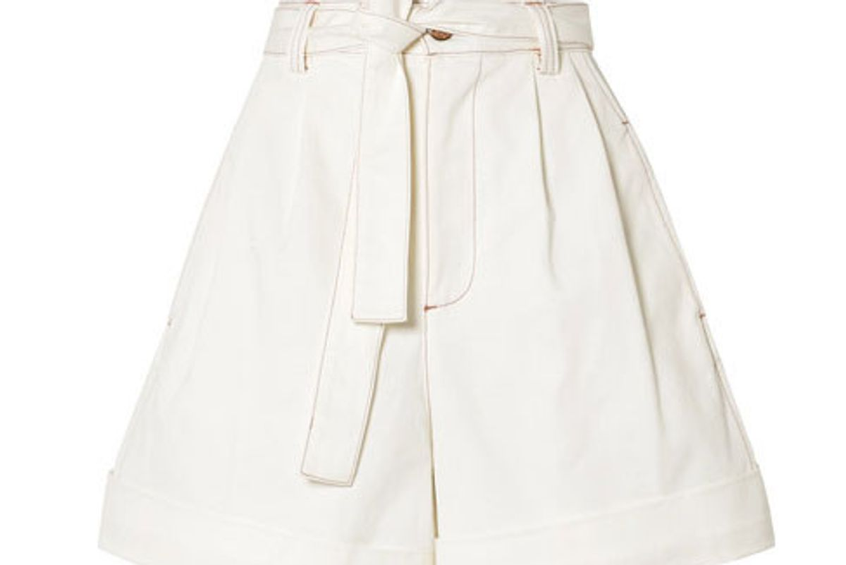 see by chloe belted cotton twill shorts