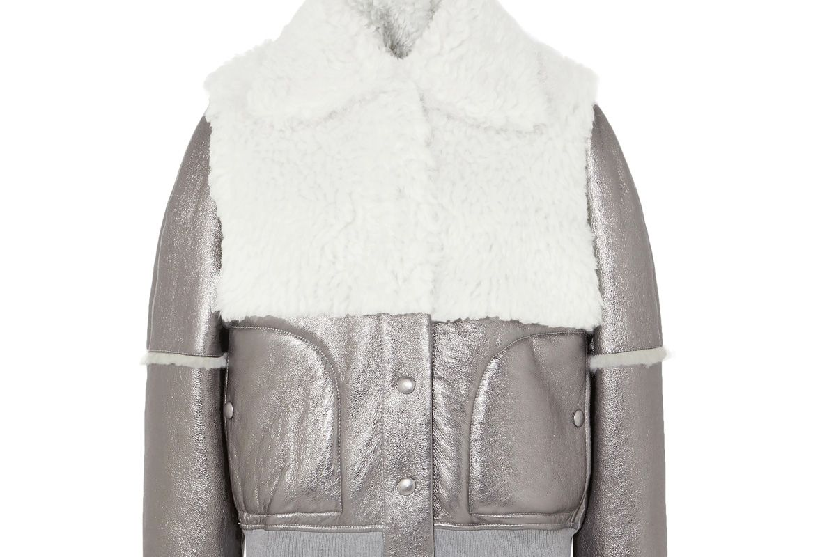 see by chloe shearling paneled metallic leather jacket