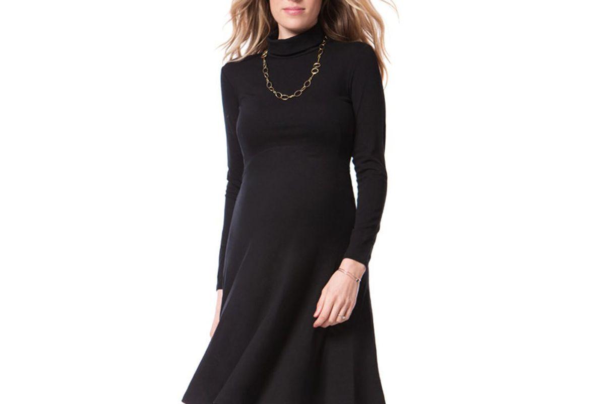 Vanessa Turtleneck Black Maternity Dress