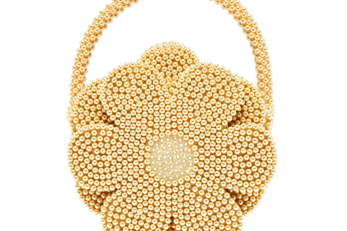 shrimps buttercup faux pearl embellished bag
