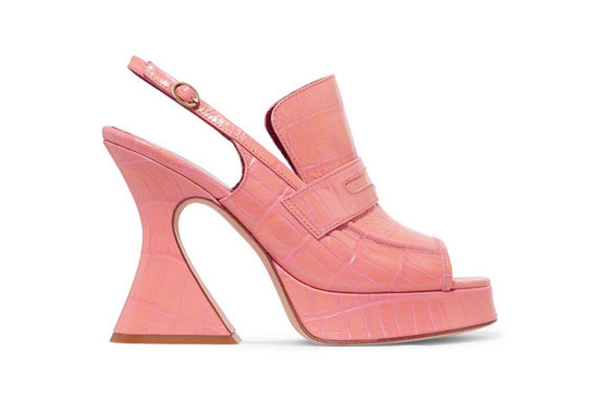 sies marjan ellie croc effect leather platform slingback sandals