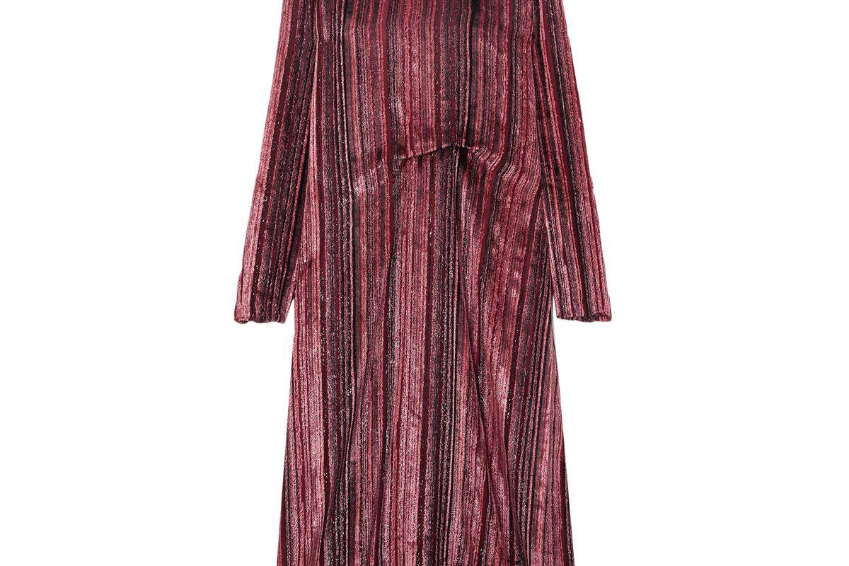 sies marjan maude metallic devore velvet and chiffon midi dress