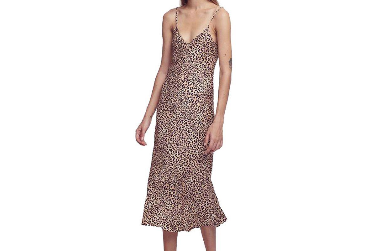 silk laundry silk slip dress leopard