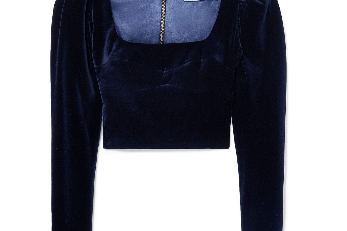 silvia tcherassi madison cropped velvet top