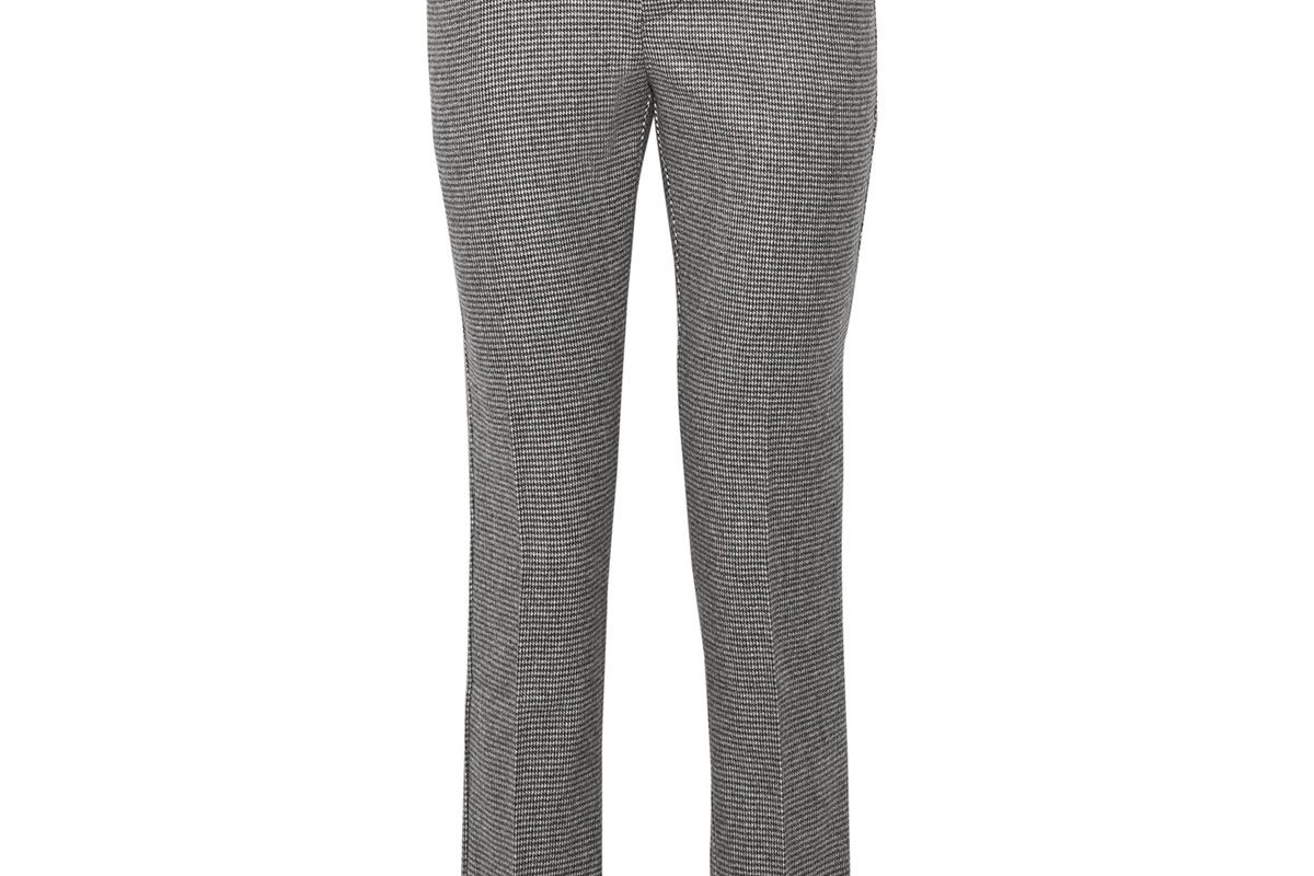 Hazen Houndstooth Wool-Blend Straight-Leg Pants