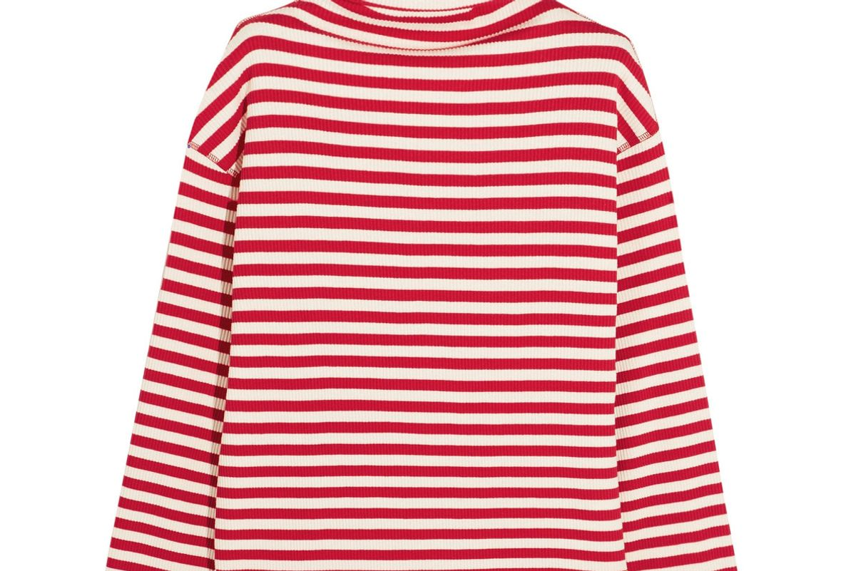 Embroidered Ribbed Striped Cotton-Blend Turtleneck Sweater