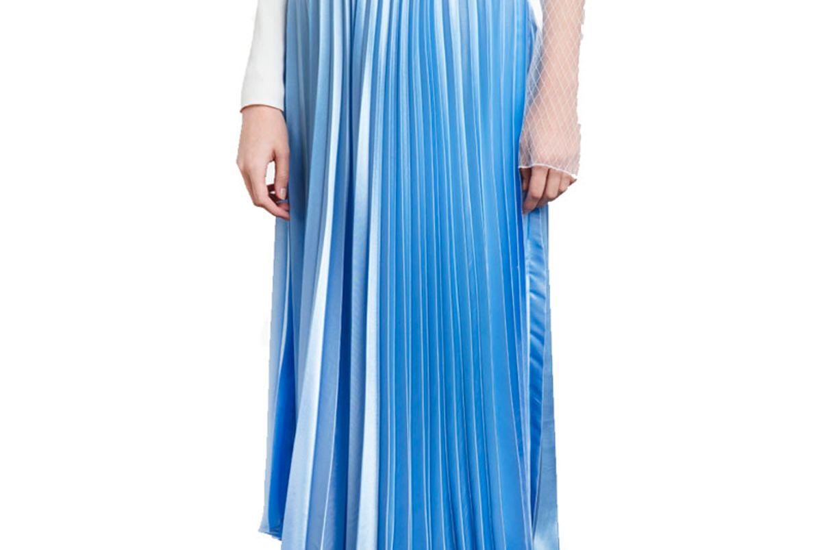 Sky Blue Satin Pleated Maxi Skirt