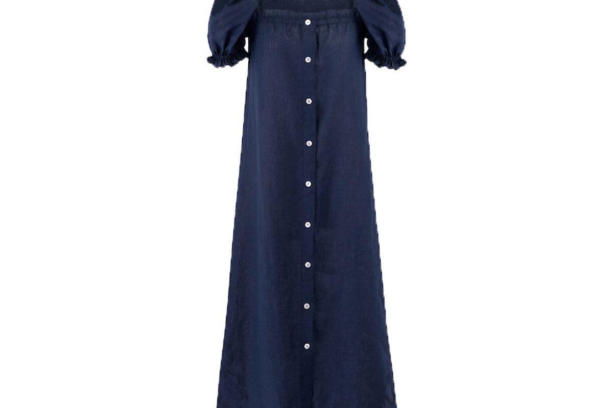 sleeper navy linen long dress