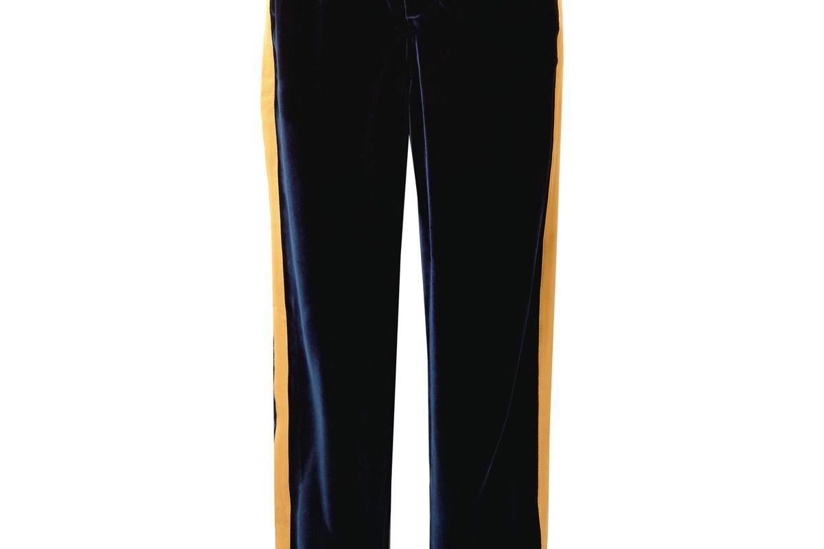 Marina Grosgrain-Trimmed Velvet Pajama Pants