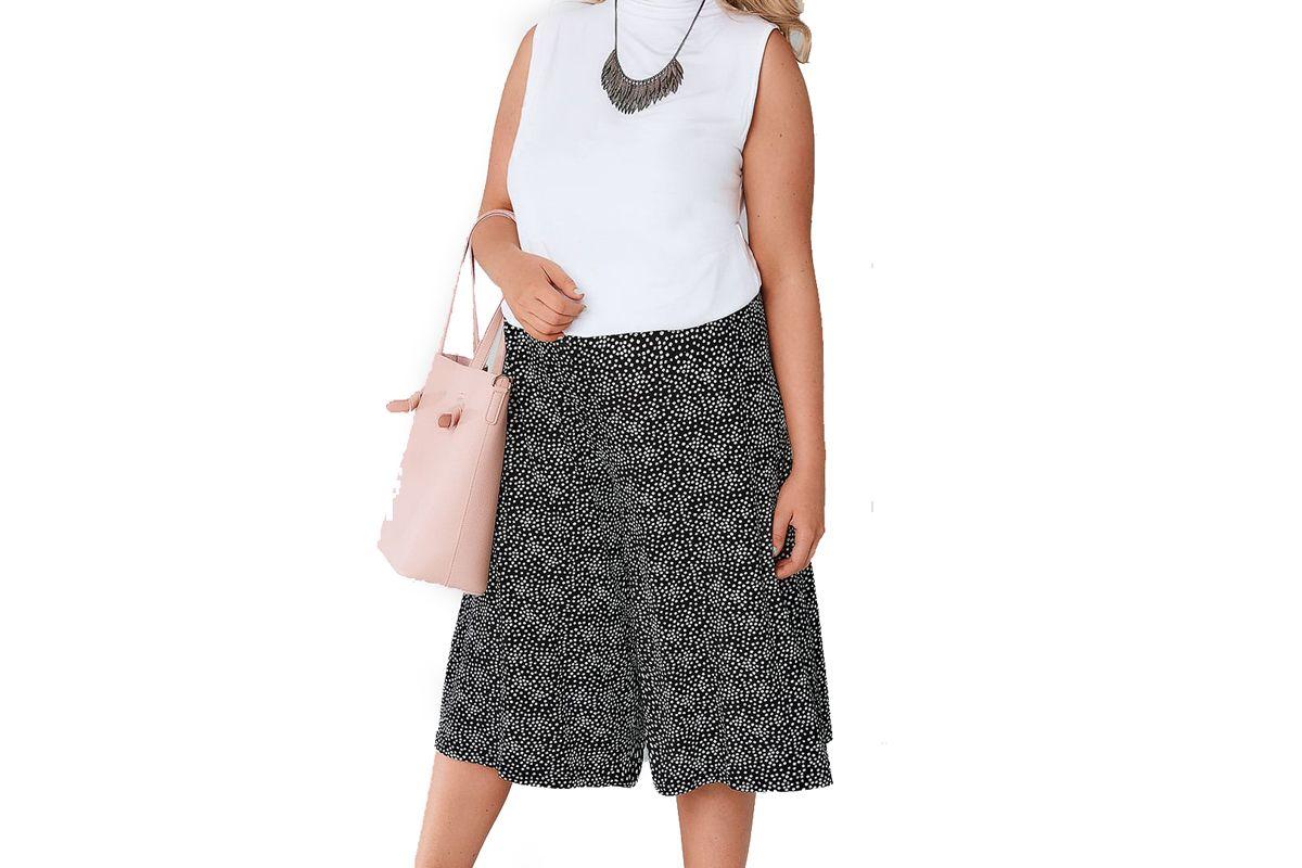 Black & White Ditsy Daisy Print Jersey Culottes