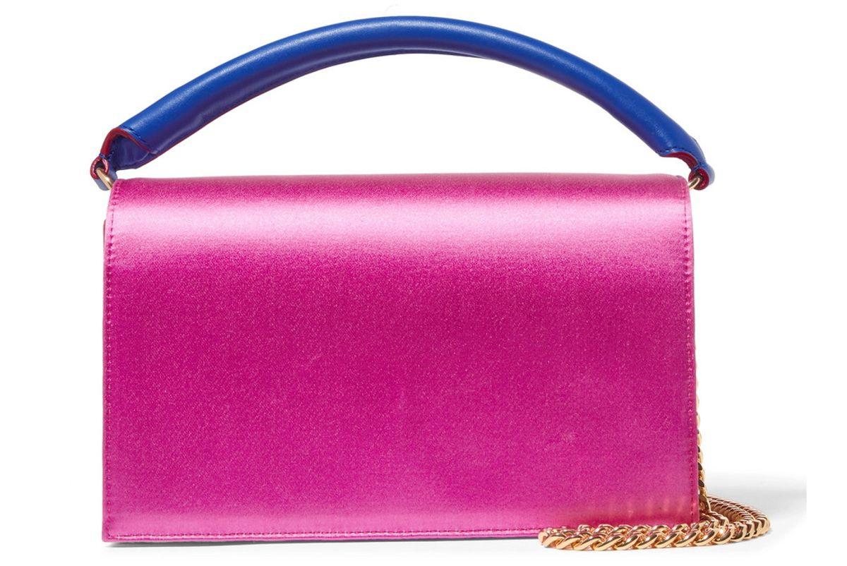 diane von furstenberg soiree color block satin and leather shoulder bag