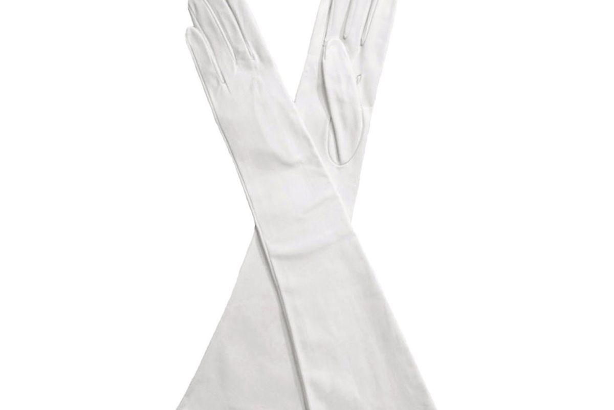 White Elbow Length Italian Kidskin Leather Gloves