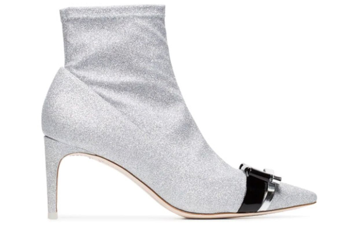 sophia webster metallic andie 70 glitter bow ankle boots