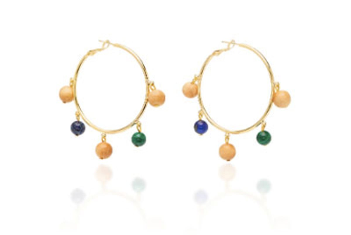 sophie monet the maraca gold plated brass lapis and malachite earrings
