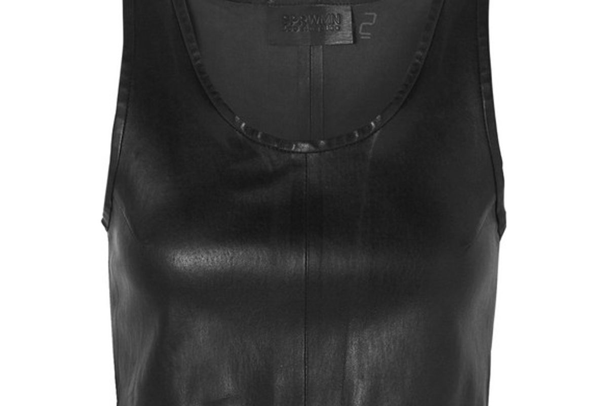 sprwmn cropped leather top