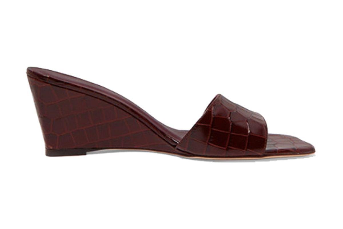 staud billie croc effect leather wedge mules