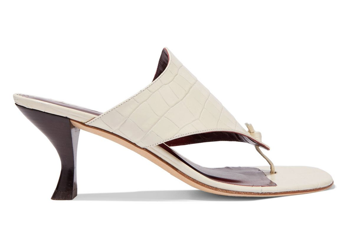 staud keith croc effect leather mules