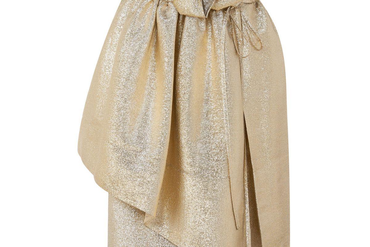 Brynn Asymmetric Gathered Lurex Skirt