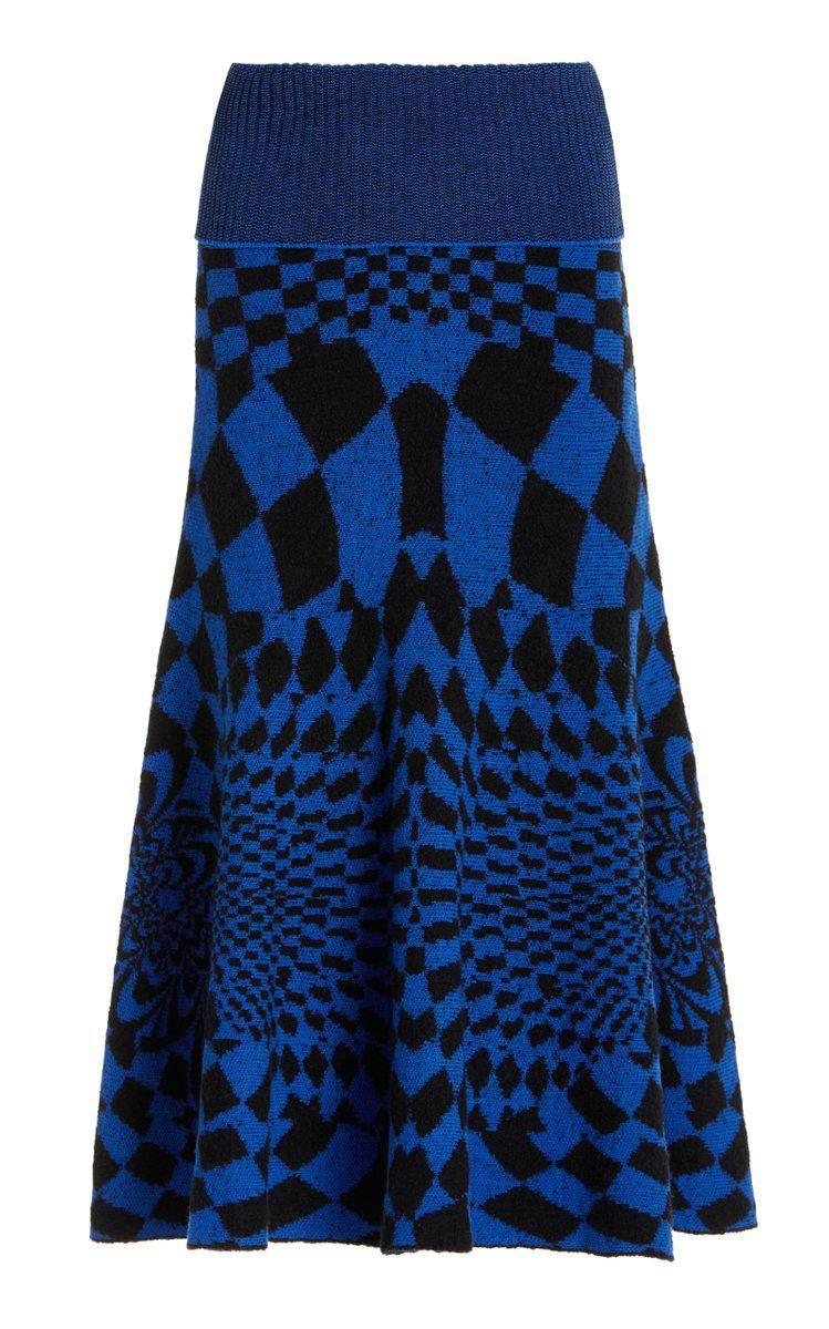 stella mccartney geometric patterned wool blend midi skirt