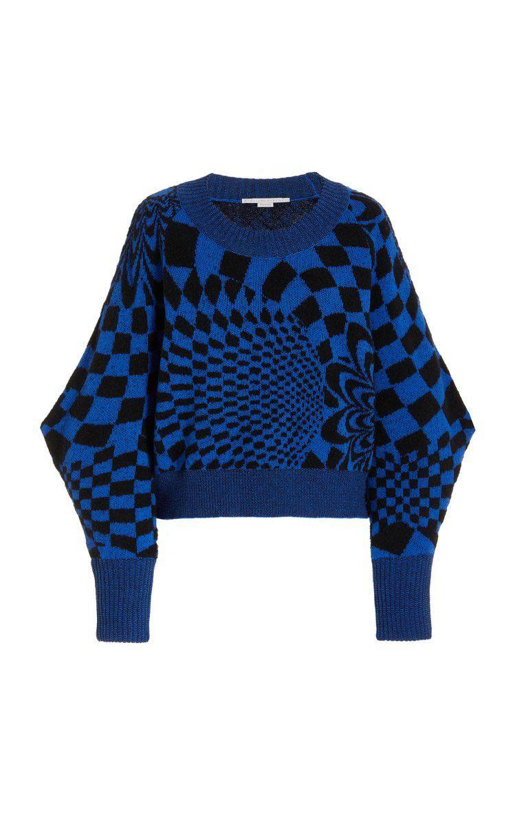 stella mccartney geometric patterned wool blend sweater