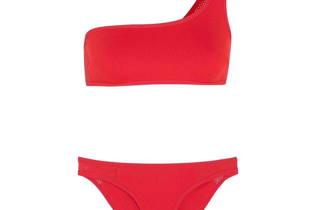 One-Shoulder Neoprene and Mesh Bikini
