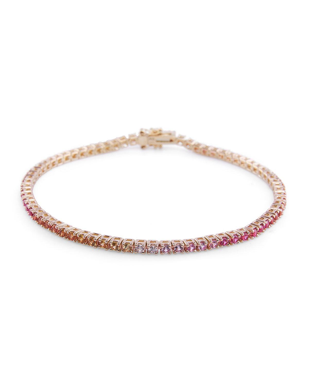 stevie wren 14k gold pink sapphire ombre tennis bracelet