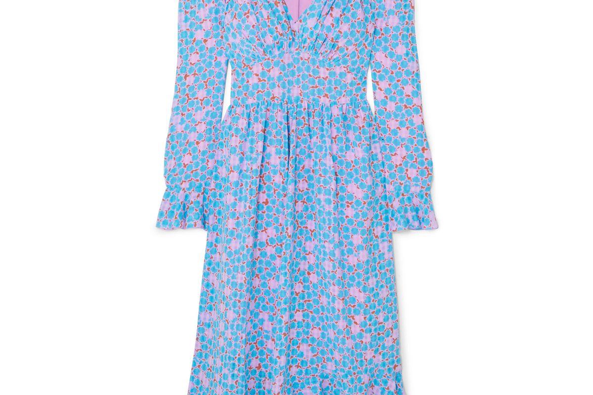 stine goya freesia ruffled printed crepe midi dress
