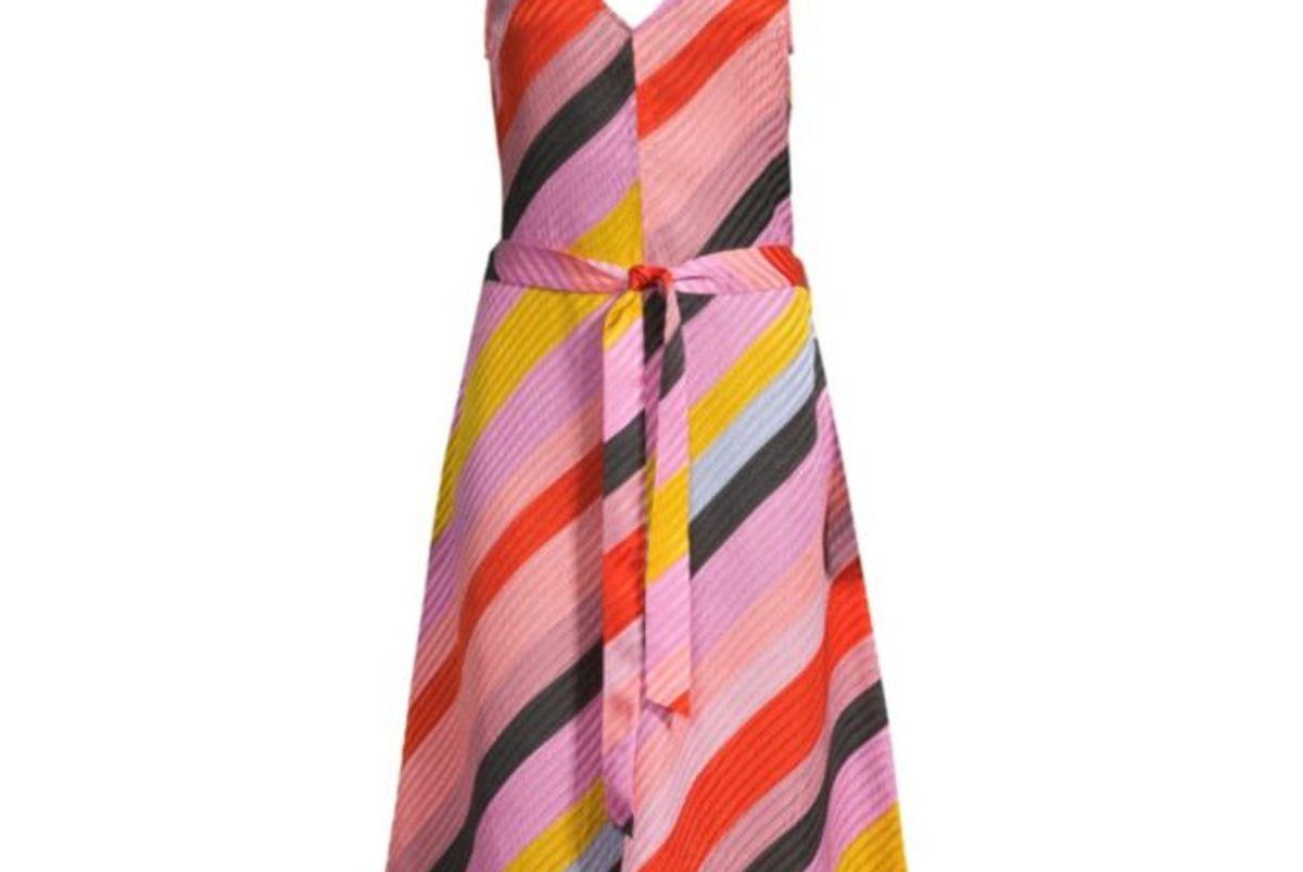 stine goya gianna striped silk dress