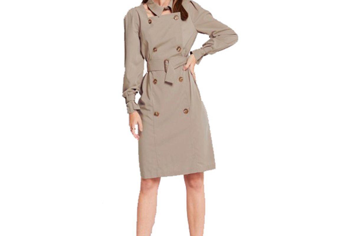 Linda Detachable Collar Trench Dress