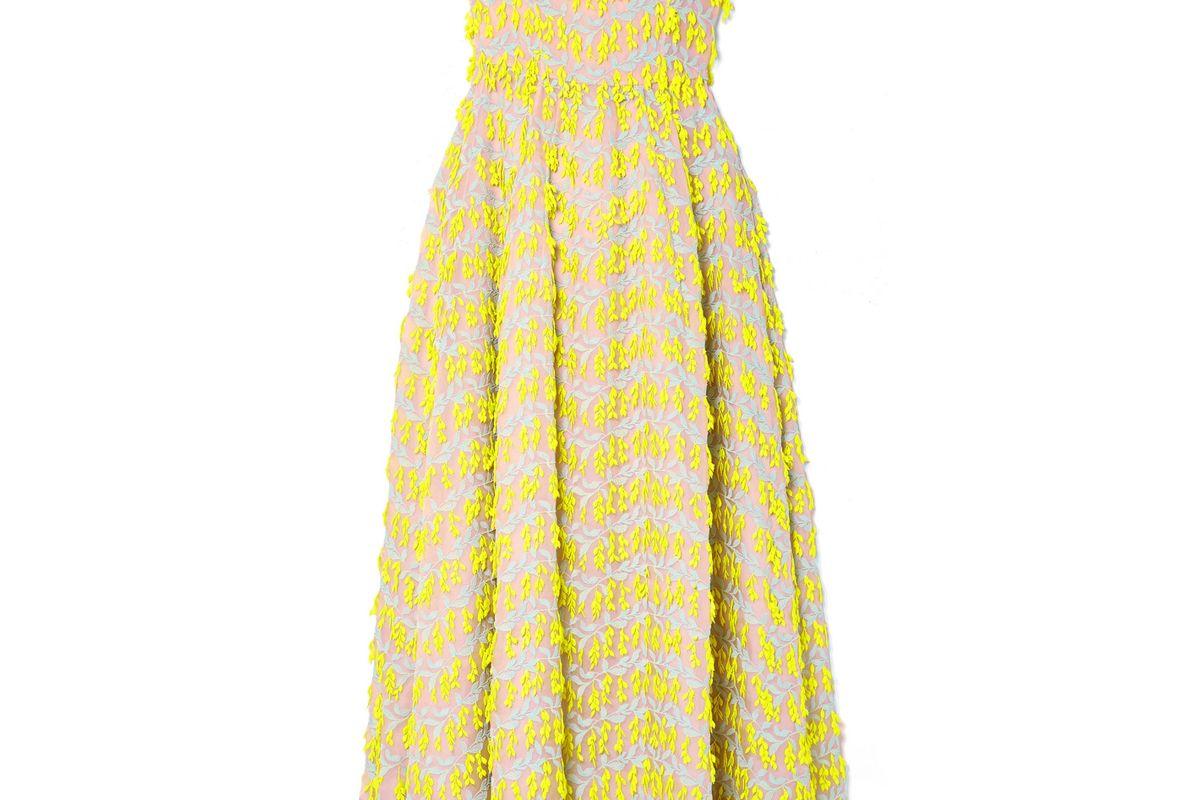 carolina herrera strapless embroidered organza midi dress