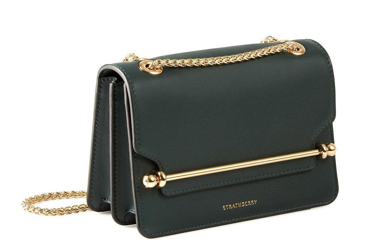 strathberry east west mini bag in bottle green