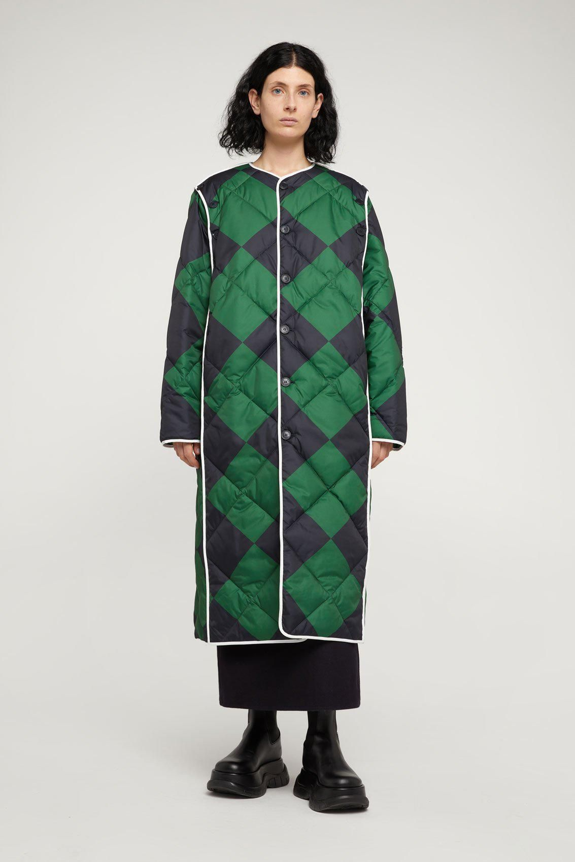 sunnei long green and blue quilted jacket