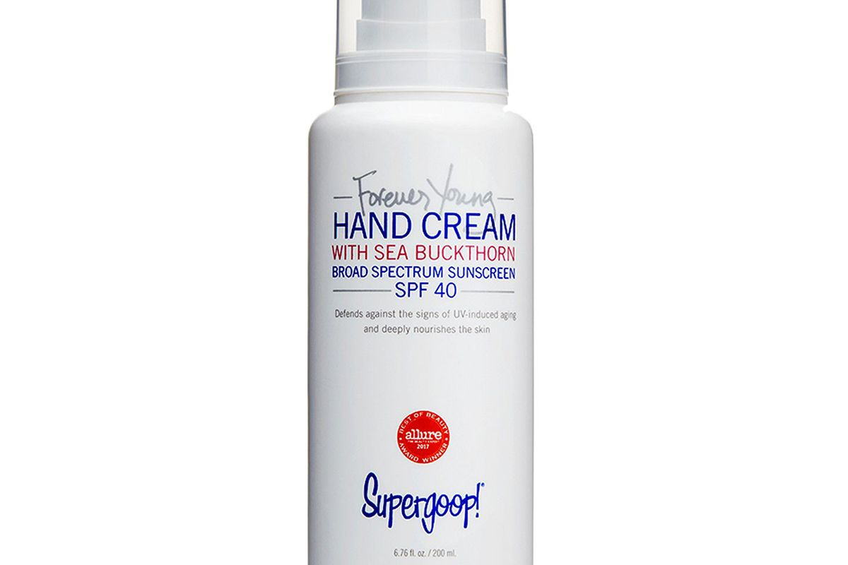 supergoop forever young hand cream with sea buckthorn spf 40