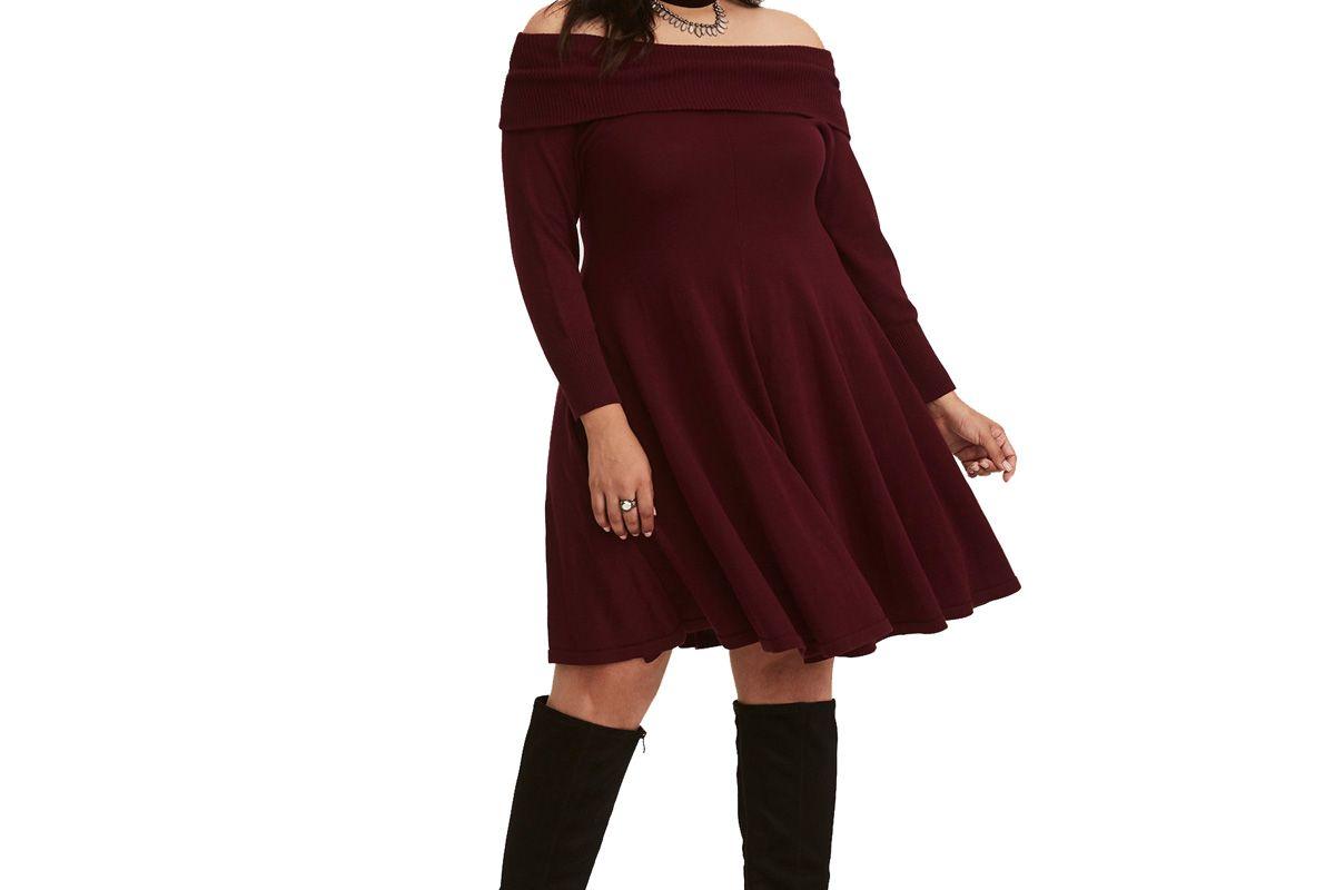 Merlot Red Knit Off Shoulder Sweater Dress