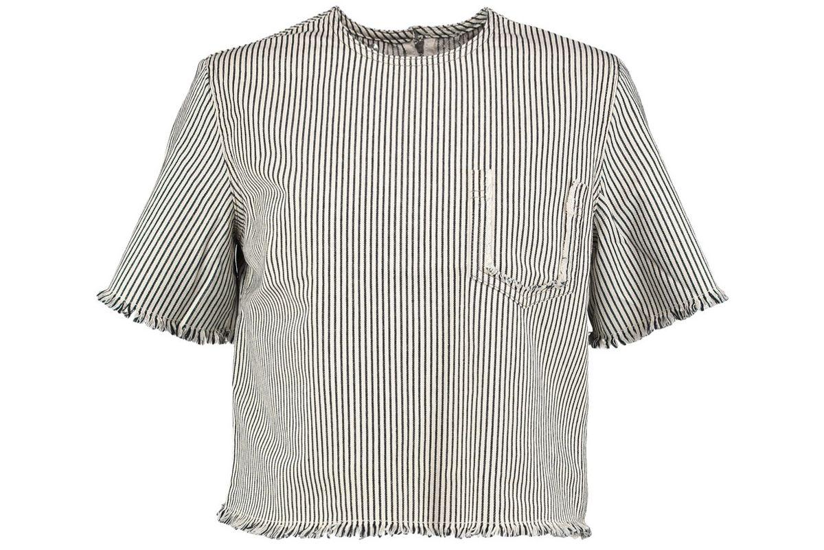 Frayed Striped Denim Top