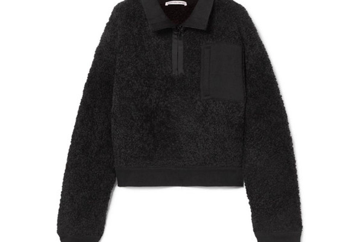 alexander wang oversized wool blend fleece jacket