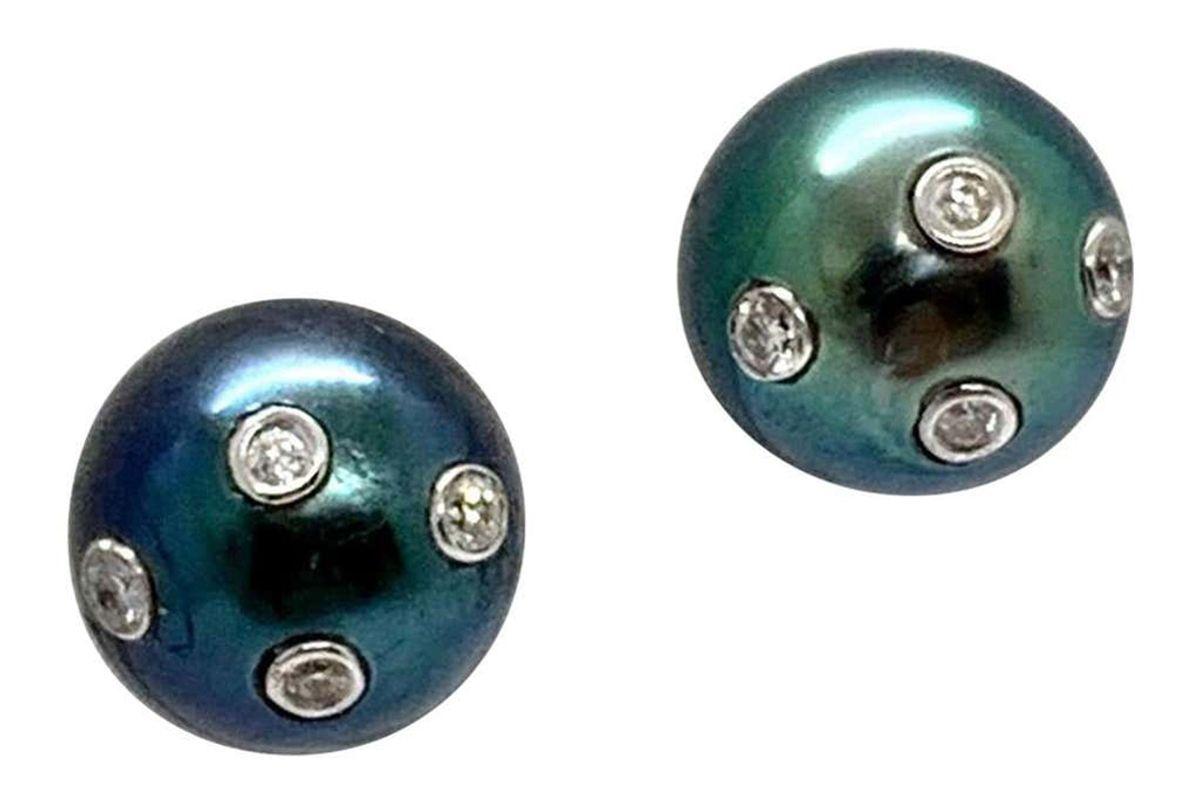 ezra kassin tahitian south sea pearl stud earrings 14 karat certified